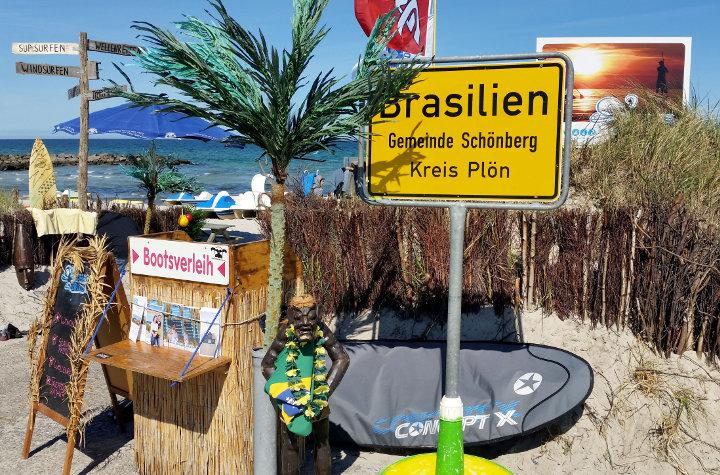 Radreiseland Probstei Schild Brasilien